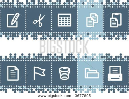 Blue Dots Bar With Document Icons