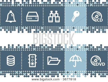 Blue Dots Bar With File-Server Icons
