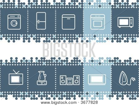 Blue Dots Bar With Household Appliances Icons