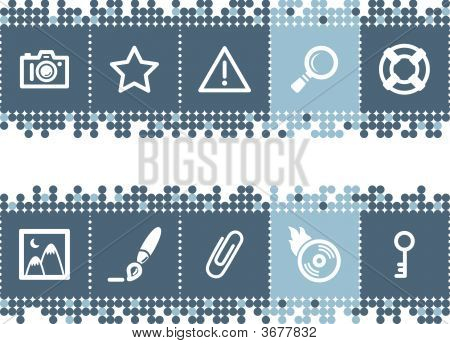 Blue Dots Bar With Image Collection Icons