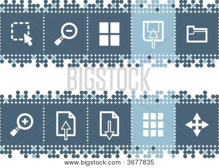 Blue Dots Bar With Image Viewer Icons