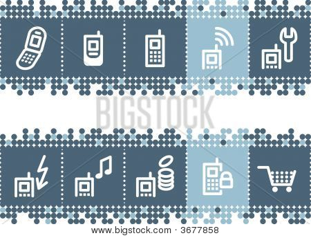 Blue Dots Bar With Mobile Phone Service Icons