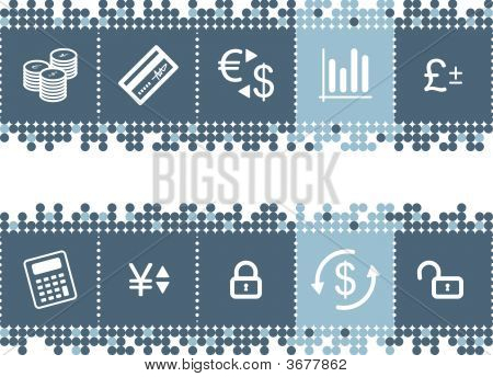 Blue Dots Bar With Money Icons