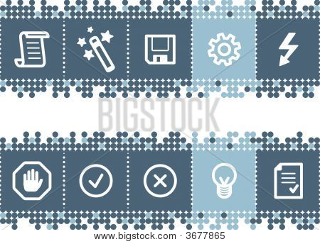 Blue Dots Bar With Script Icons