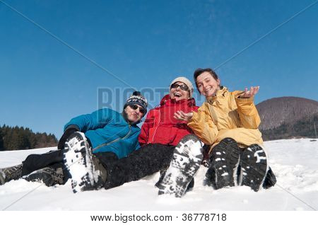 Family in winter together - portrait