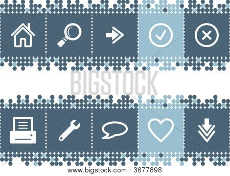 Blue Dots Bar With Web Icons