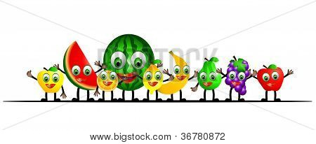 illustration of cartoon fruits set