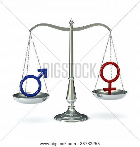 Scales with gender symbols