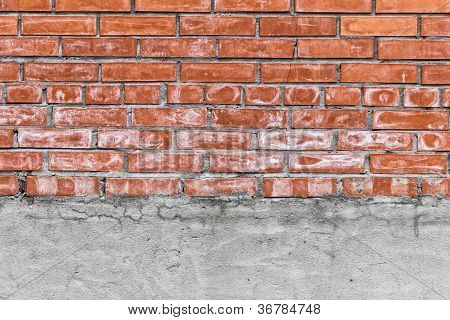 Red Brick And Concrete Wall Texture