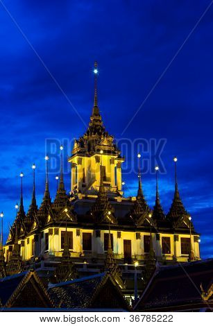 Loha Prasat Metal Palace At Twilight Time