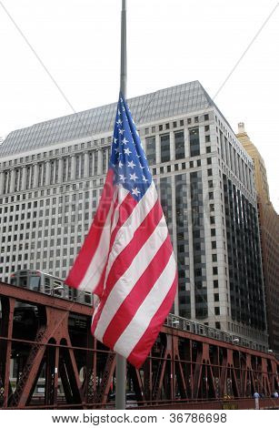 AMERICAN FLAG AND CTA TRAIN
