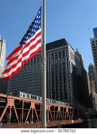 CHICAGO TRAIN AND U.S FLAG