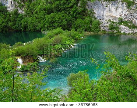 Waterfalls And Lakes In Plitvice National Park