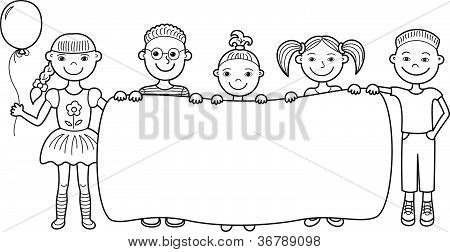 Cartoon children holding empty banner