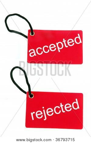 Red Paper Tag Labeled With Accepted And Rejected Words