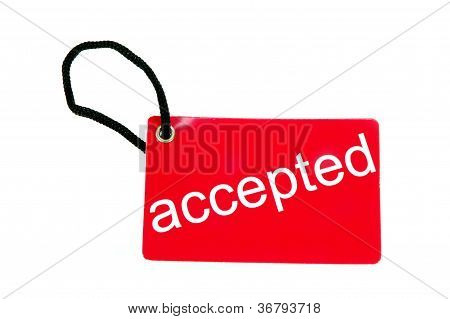 Red Paper Tag Labeled With Accepted Words