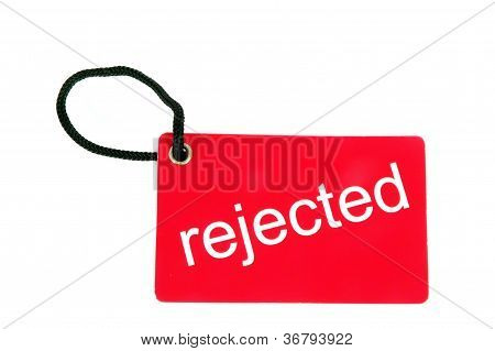 Red Paper Tag Labeled With Rejected Words