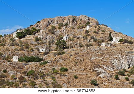 Palaiochora hill at Aegina island in Greece