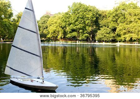 Sailboat On The Conservatory Water In Central Park, New York