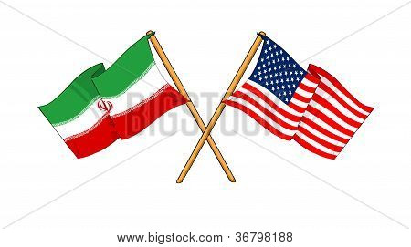 America And Iran Flags