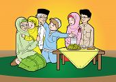 image of fitri  - Indonesian family muslim eid mubarak celebration day - JPG