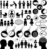 stock photo of buggy  - Collection of human related icons encompassing birth - JPG