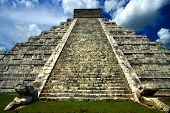stock photo of castello brown  - the stairs of chichen itza temple from the bottom
