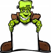 stock photo of frankenstein  - Cartoon Vector Image of a Happy Halloween Monster Frankenstein Head Holding a Sign - JPG