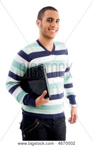 Smiling Boy Holding Laptop