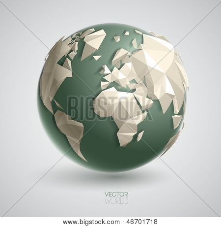 Vector world globe illustration, with 3d triangular map of the earth, and smooth shadows. The artwork is entirely vector based, and all elements are perfectly editable.