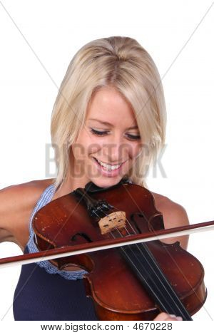 Smiling Blond Woman And Violin