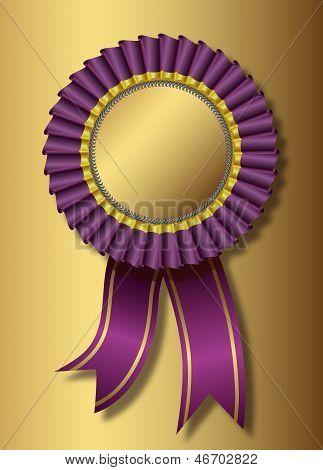 Purple award over golden background