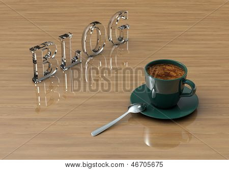 Cup Coffee With Glass Text Blog