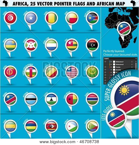 Africa Pointer Flag Icons with african Map set2