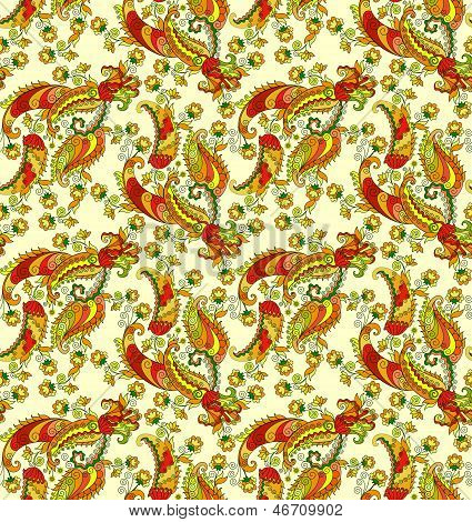Bright Paisley Pattern On A Yellow Background