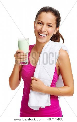 woman with healthy diet protein shake drinking for sport and fitness