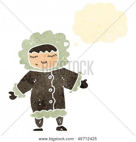 Retro cartoon Eskimo mit Gedanken-Blase