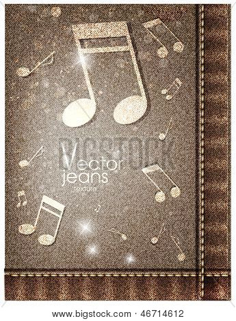 Music jeans texture. Vector illustration