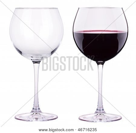 Full And Empty Red Wine Glass Isolated