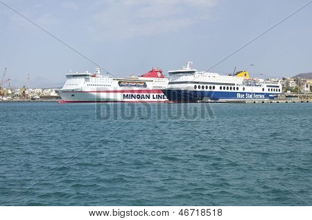 Ferries in the harbor of Heraklion