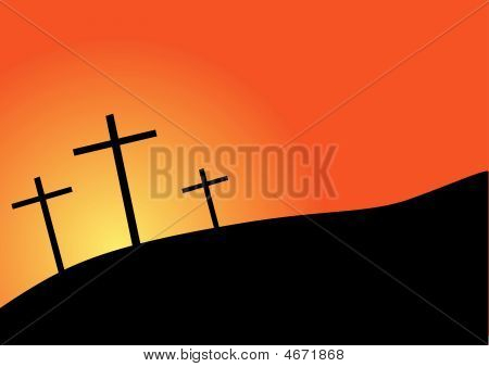 Three Crosses Silhouette Easter And Sunrise/sunset