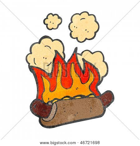 retro cartoon burning hot dog