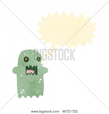 retro cartoon ghost with speech bubble