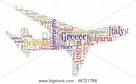 Tag or word cloud Europe traveling related in shape of airplane