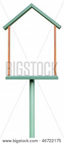 Blank Signboard, Isolated Copyspace In Green And Ocher Wooden Frame, Grunge Empty Reddish Ochre Wood