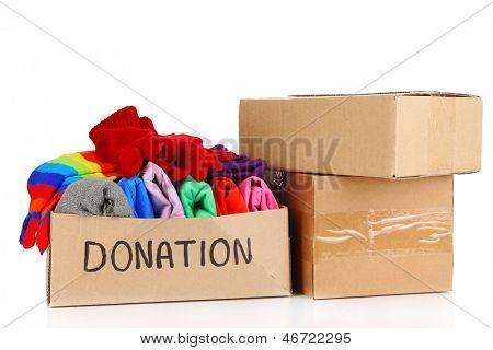 Donation box isolated on white