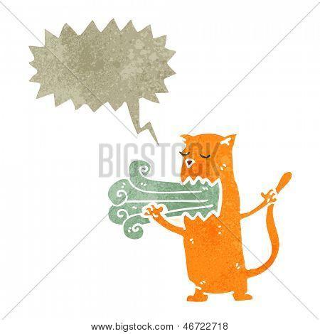 retro cartoon cat with bad breath