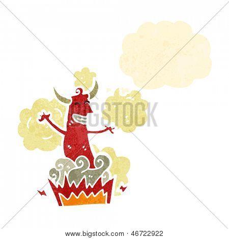 retro cartoon devil appearing