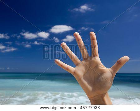 Female hands aganist a beautiful blue sky