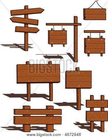 Wood Signs - Vector Illustrations